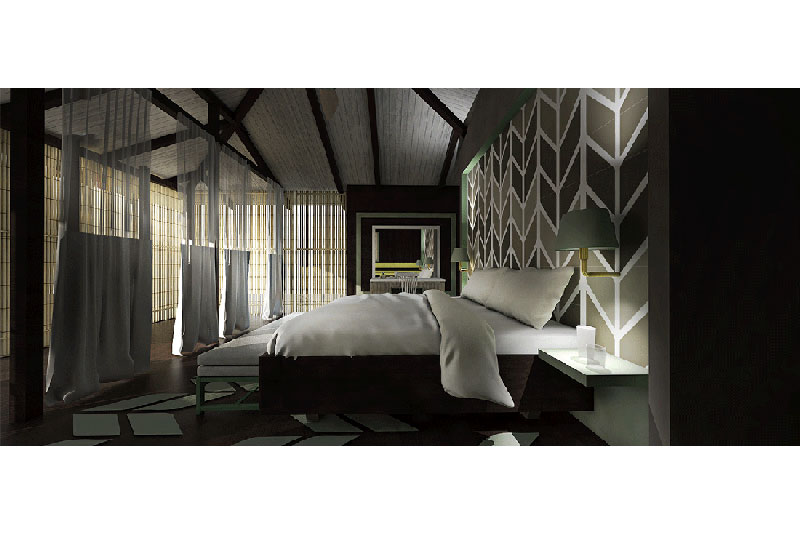 Mawamba lodge interior bedroom, front view, big bed and excellent wall design and view