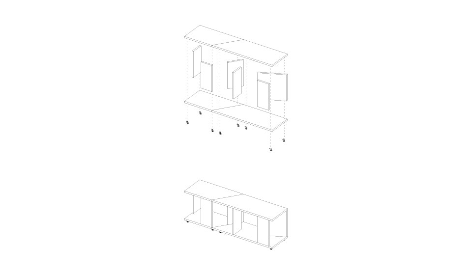 Bedside table plans side and laying down view