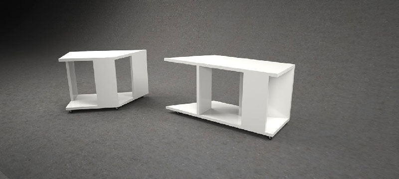 Side view of separate white nightstand