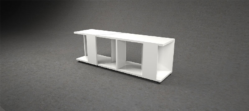 Side view of white nightstand
