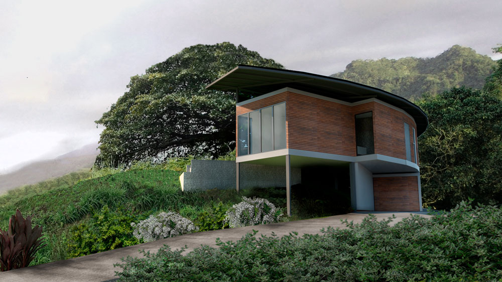 House O view from the front, with its tree and elevated structure, with the mountains of Samara in the background